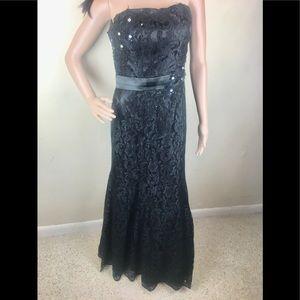 Fiesta Formal black flower lace long dress
